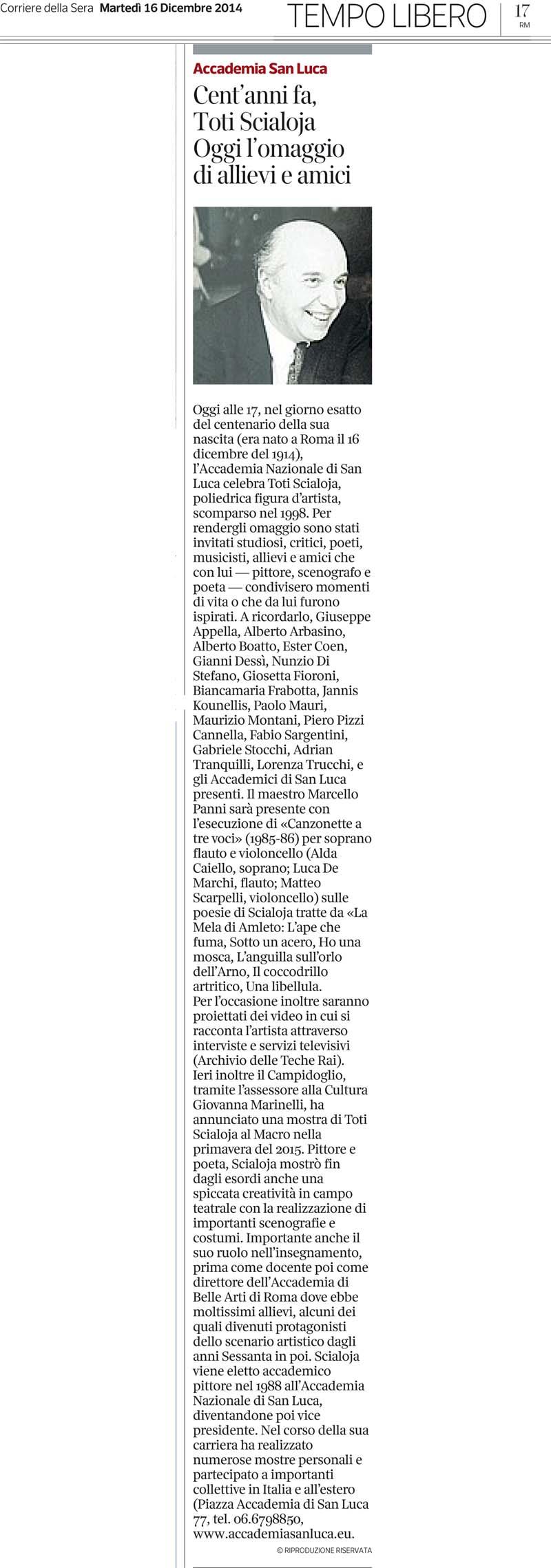 16 dicembre 2014_Corriere della Sera Roma